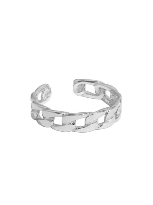 Platinum [11 adjustable] 925 Sterling Silver Geometric Chain Minimalist Band Ring